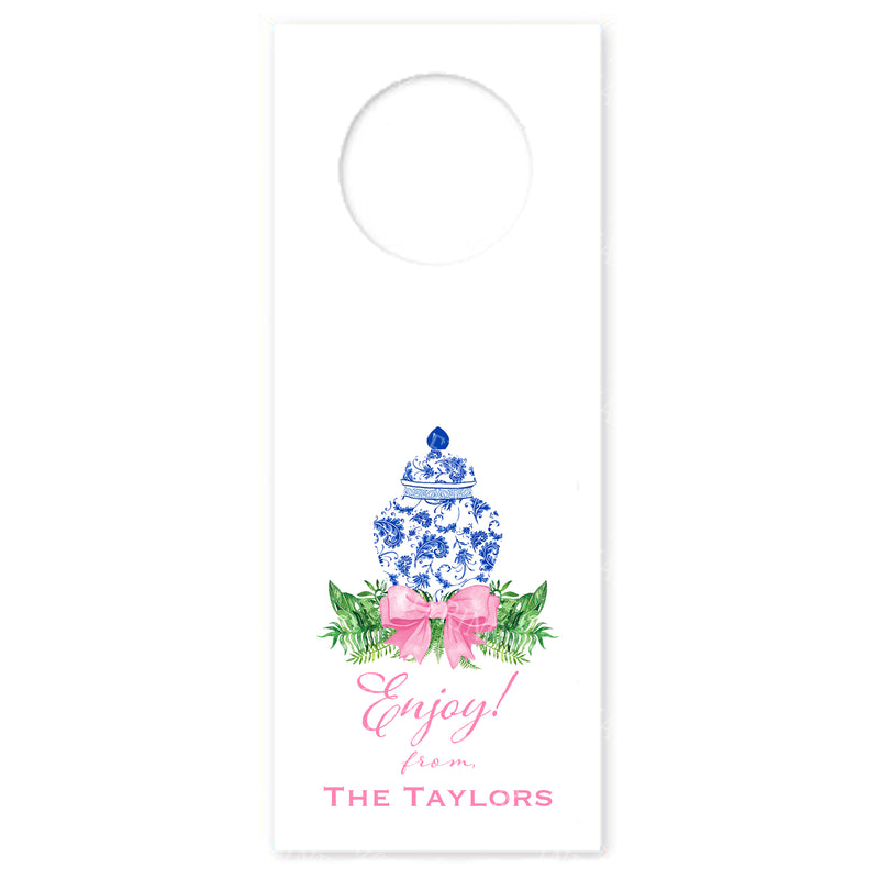 Ginger Jar Swag with Pink Bow Wine Bottle Tags