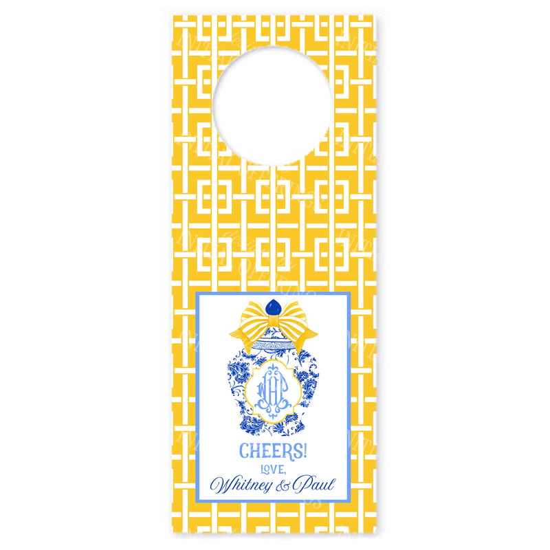 Ginger Jar with Yellow Bow and Trellis Wine Bottle Tags