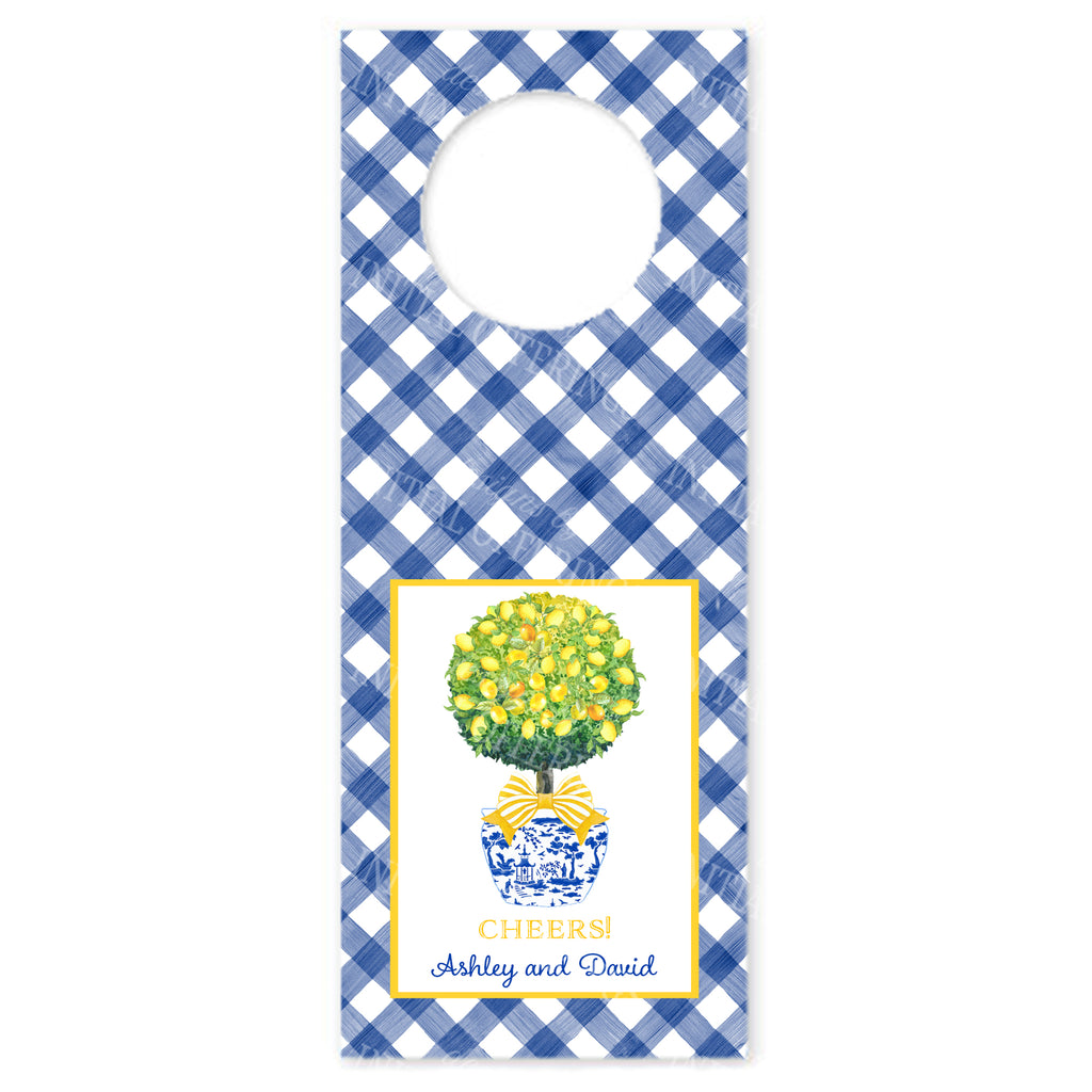 Topiary with Lemons with Blue Gingham Wine Bottle Tags