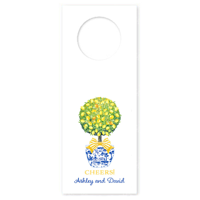 Topiary with Lemons Wine Bottle Tags
