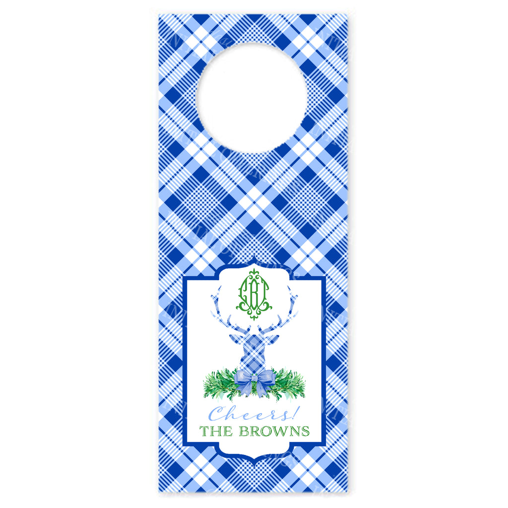 Blue and White Plaid Stag Head Wine Bottle Tags