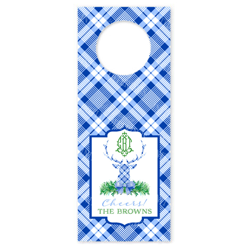 Blue and White Plaid Stag Head Bottle Tags