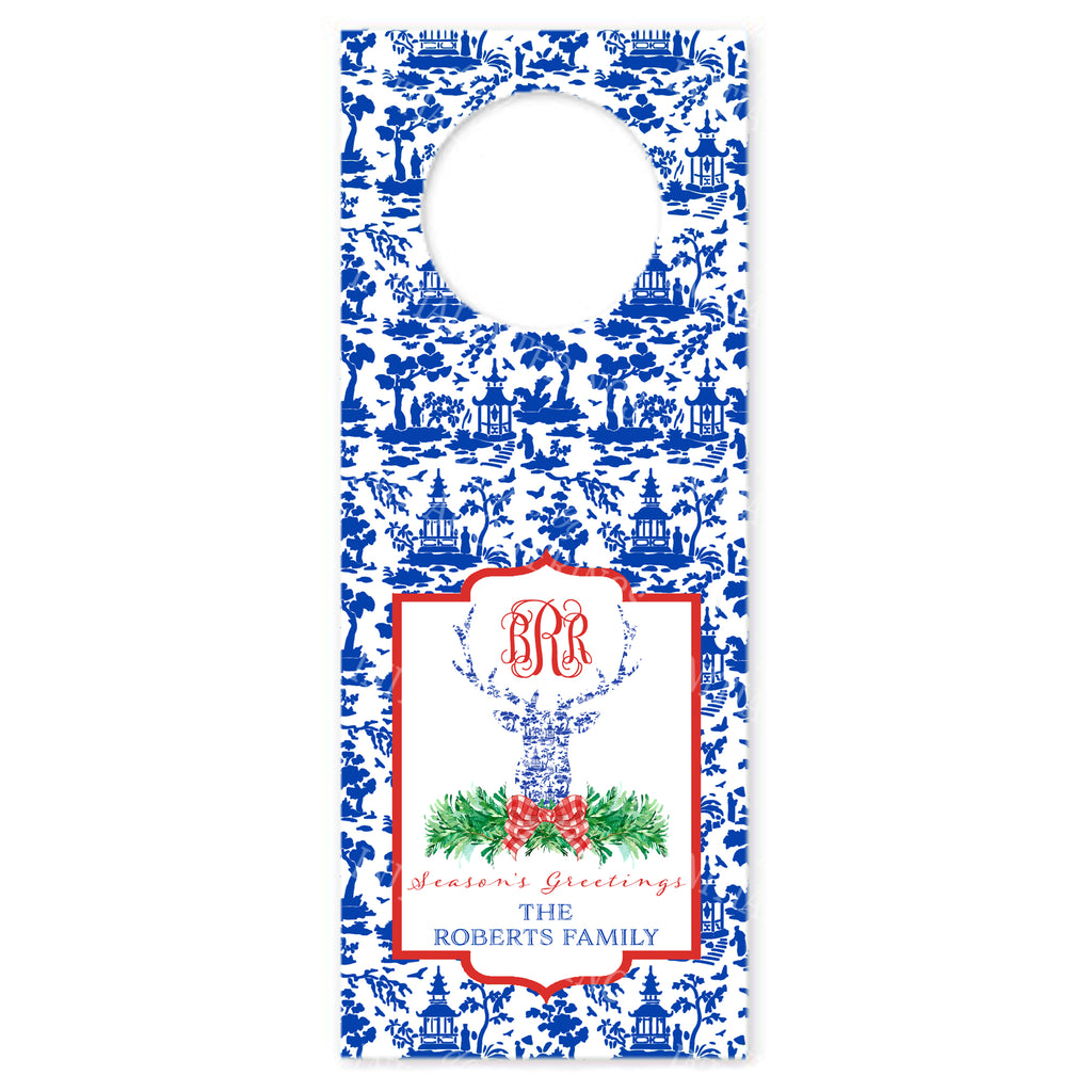 Red and Blue Pagoda Toile Stag Head Wine Bottle Tags