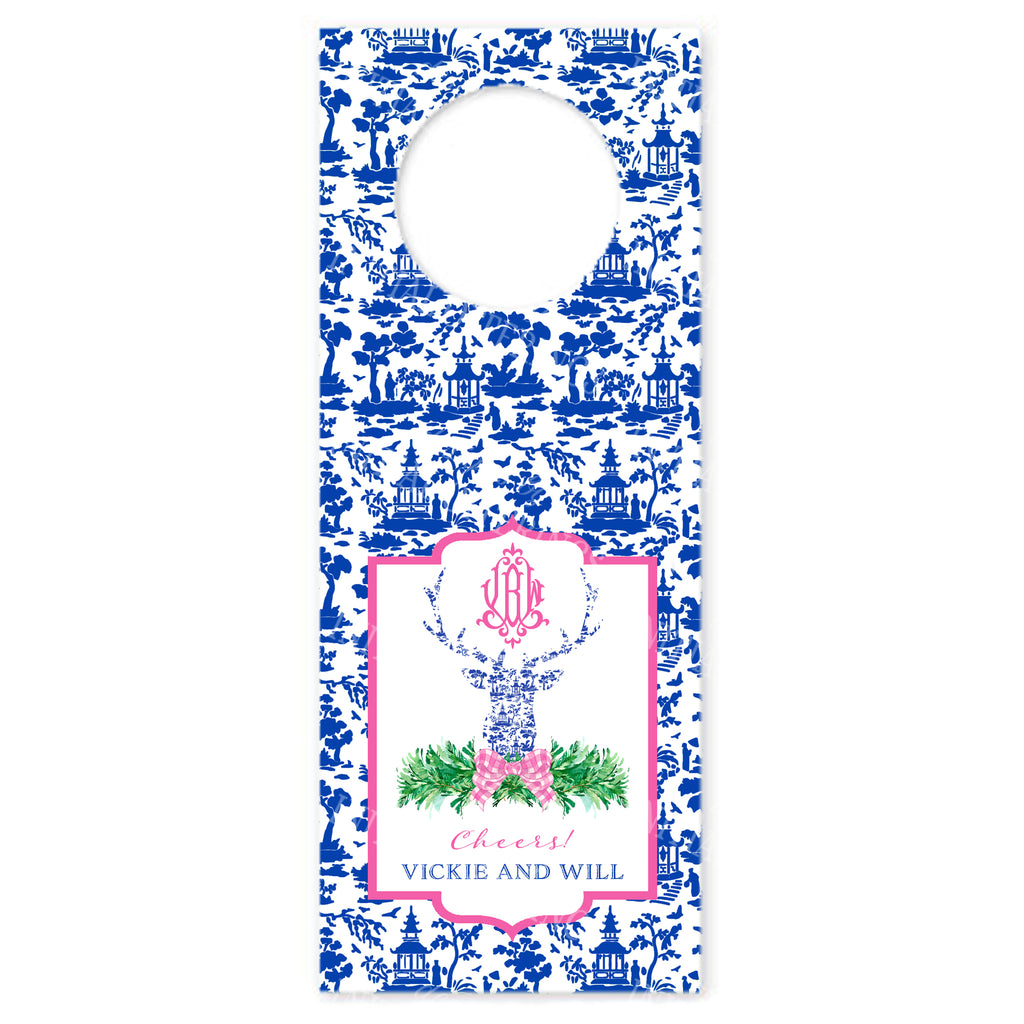 Pink and Blue Pagoda Toile Stag Head Wine Bottle Tags