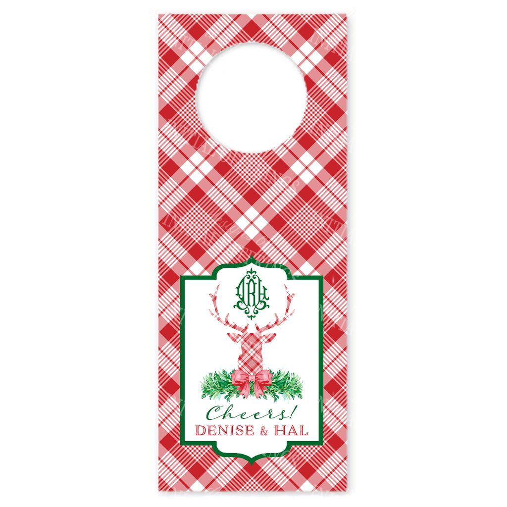 Red and White Plaid Stag Head Wine Bottle Tags