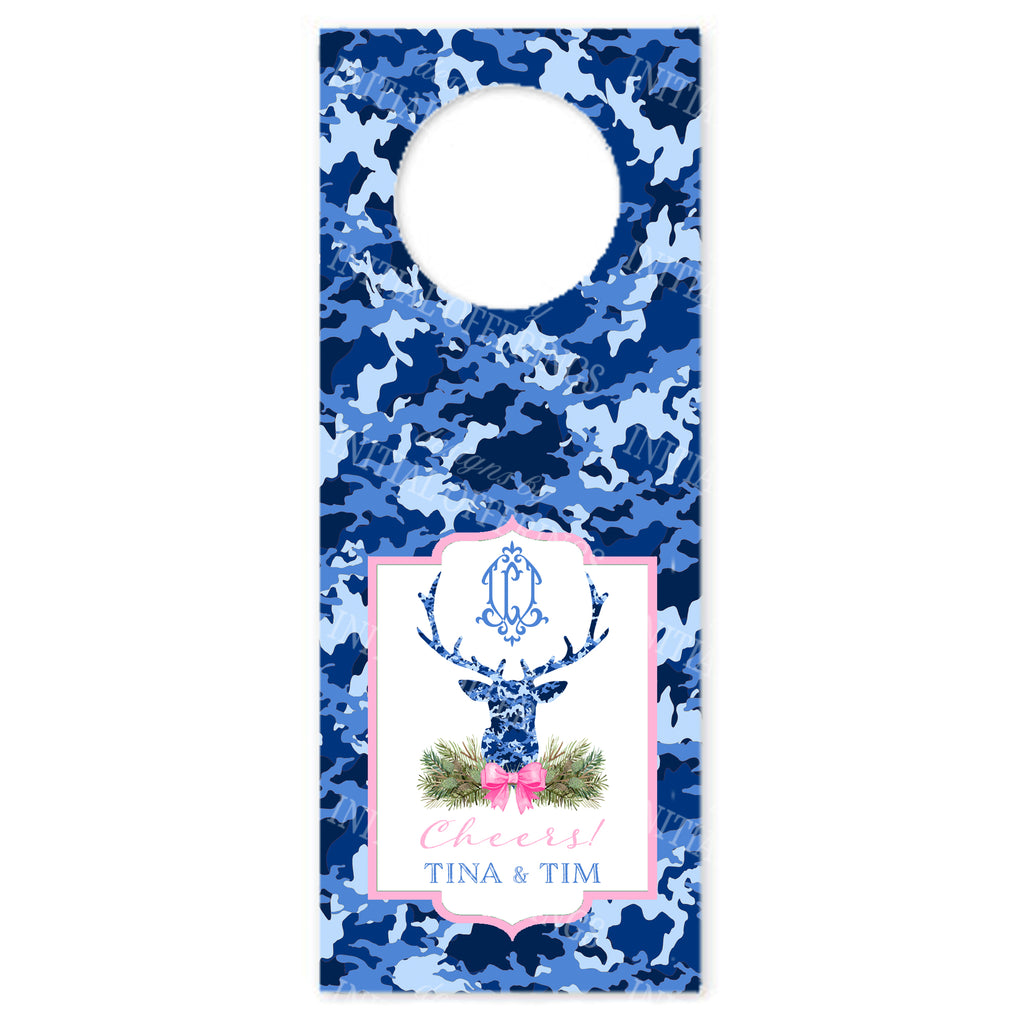 Blue Camo Stag Head Wine Bottle Tags