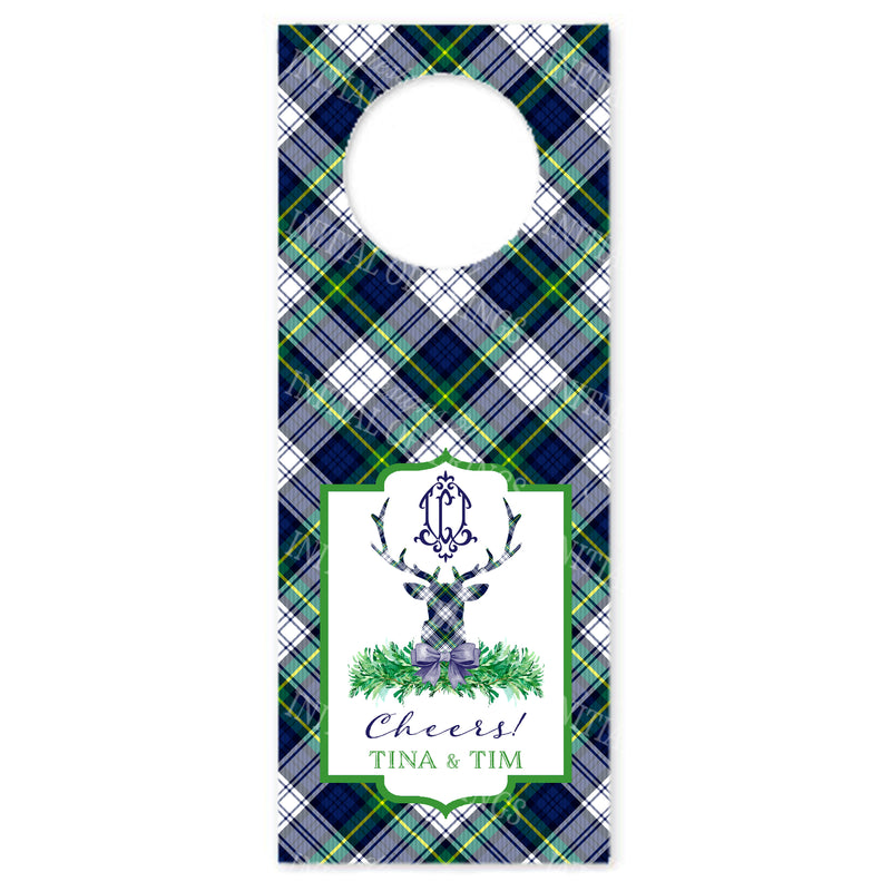Dress Gordon Tartan Plaid Stag Head Bottle Tags