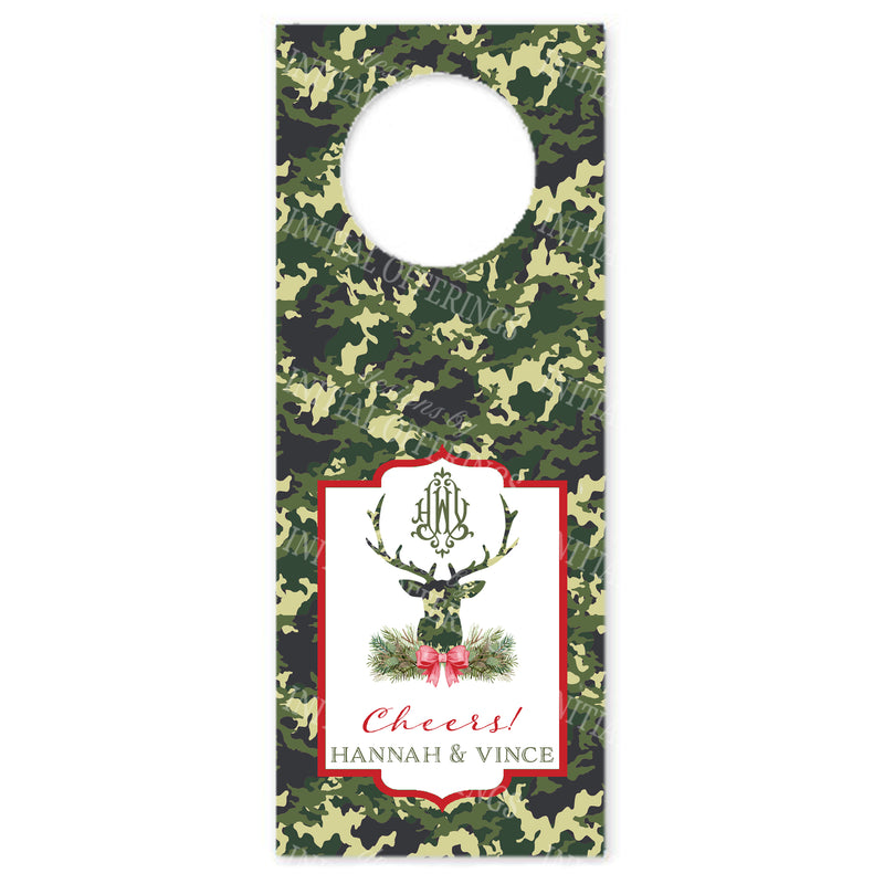 Green Camo Stag Head Wine Bottle Tags