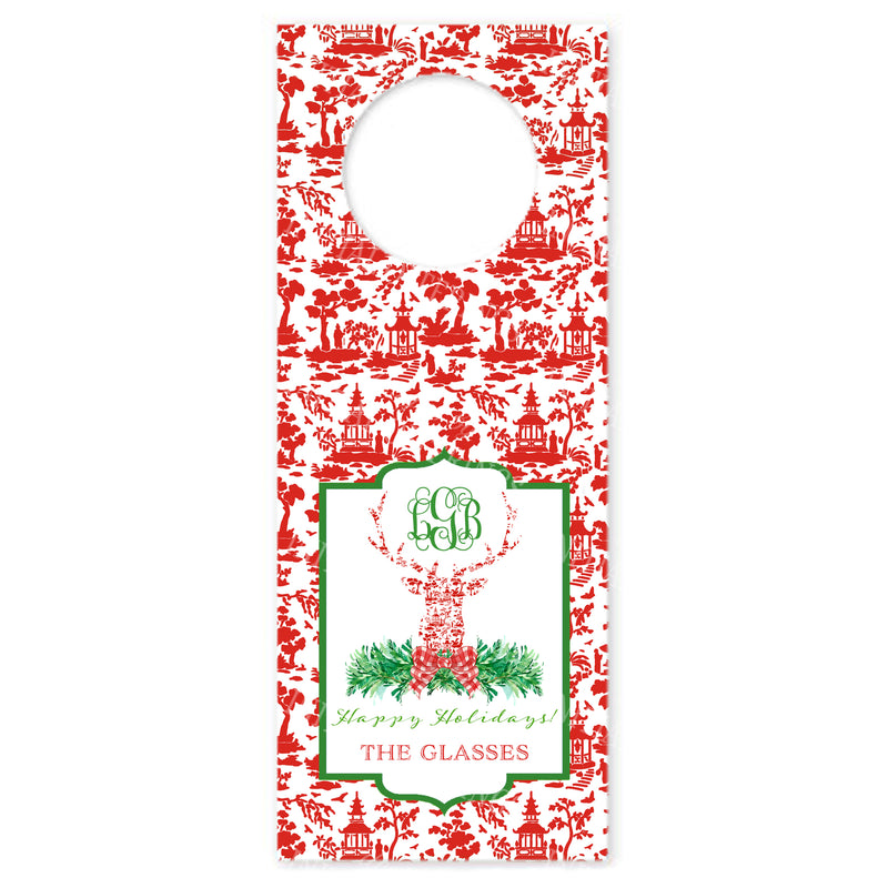 Red and White Pagoda Toile Stag Head Wine Bottle Tags