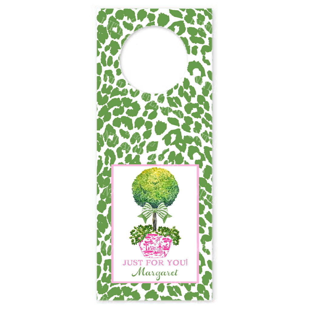 Topiary in Pink Planter with Green Bow and Cheetah Print Wine Bottle Tags
