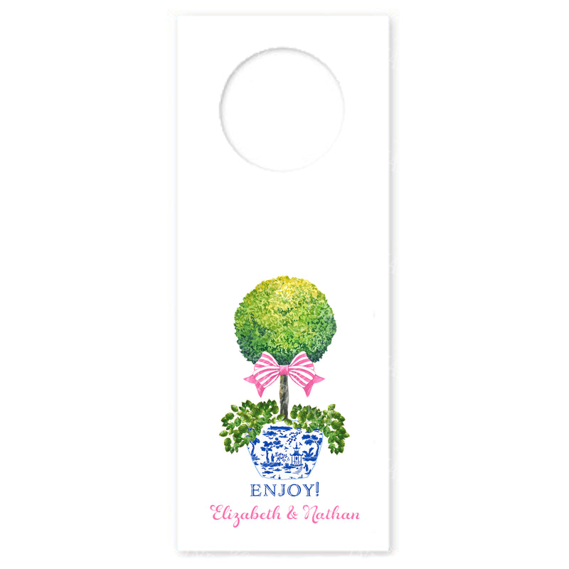 Topiary with Pink Bow Wine Bottle Tags