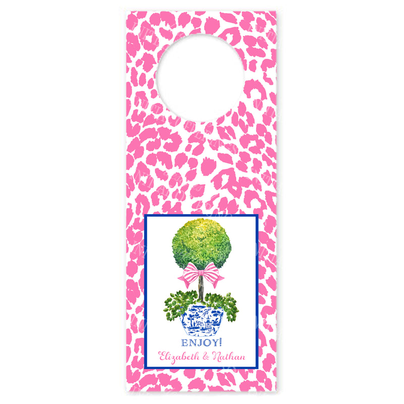 Topiary with Pink Bow and Cheetah Print Wine Bottle Tags