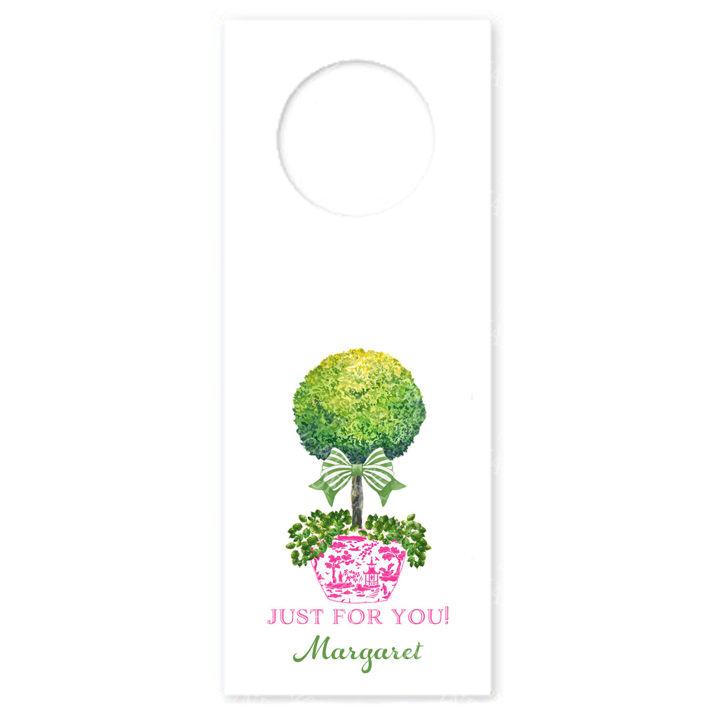 Topiary in Pink Planter with Green Bow Wine Bottle Tags