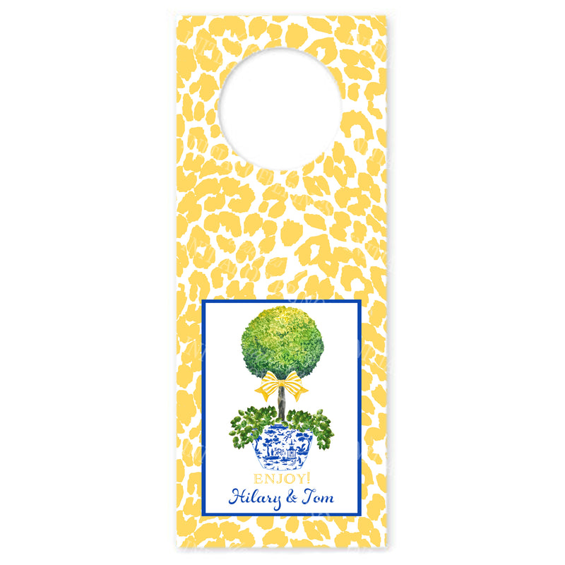 Topiary with Yellow bow and Cheetah Print Wine Bottle Tags