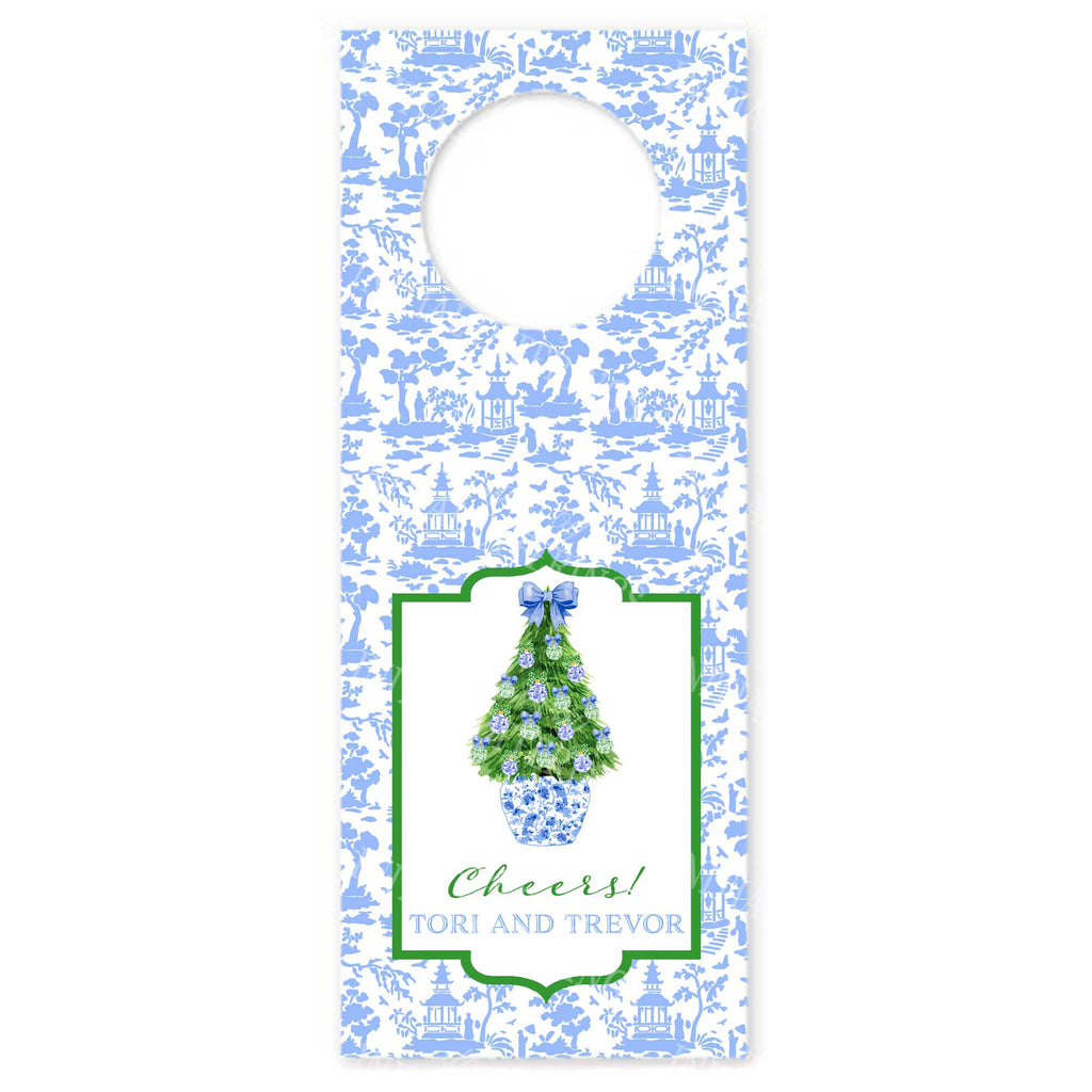 Blue and Green Christmas Tree 2 Wine Bottle Tags