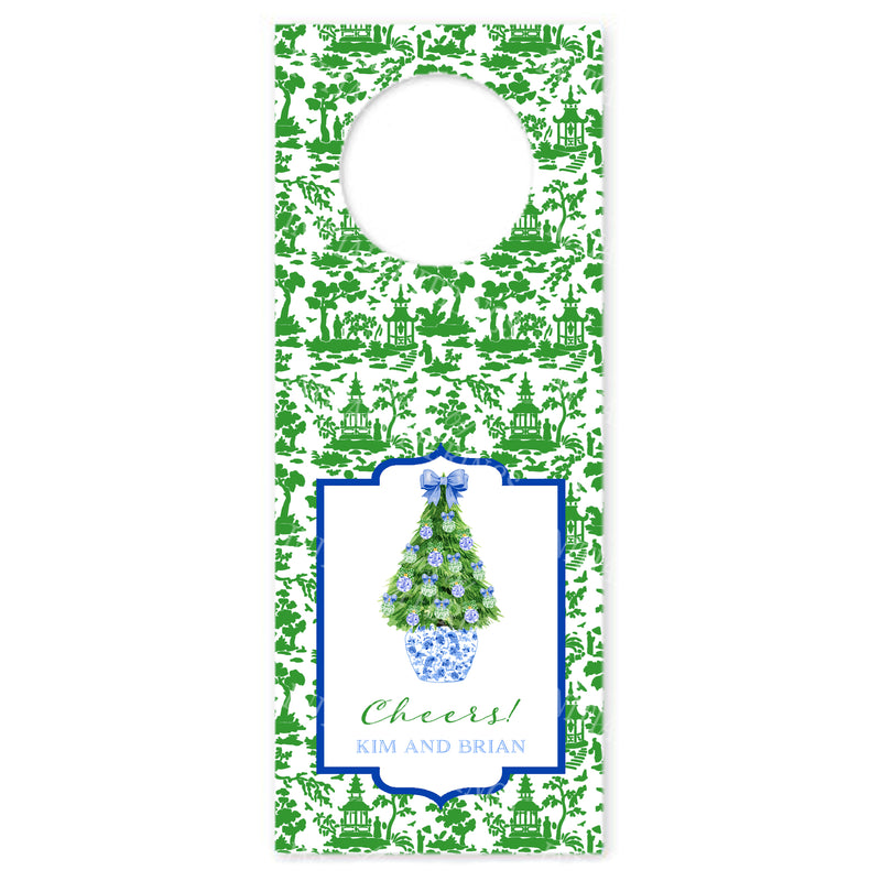 Blue and Green Christmas Tree Wine Bottle Tags