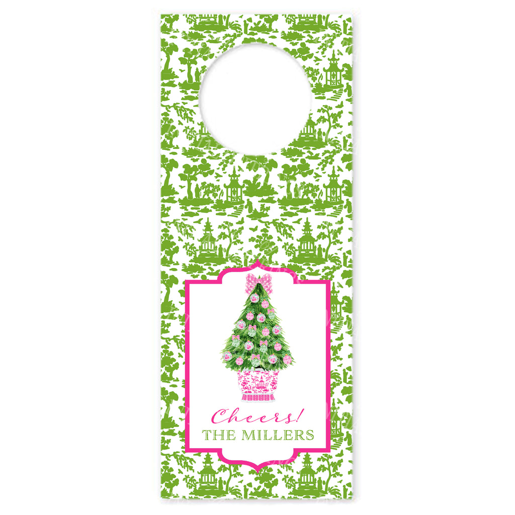 Pink and Green Christmas Tree Wine Bottle Tags