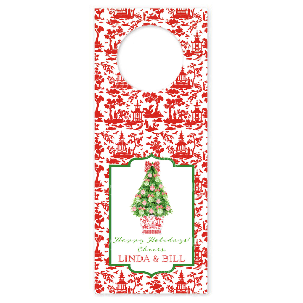 Red and Green Christmas Tree Wine Bottle Tags