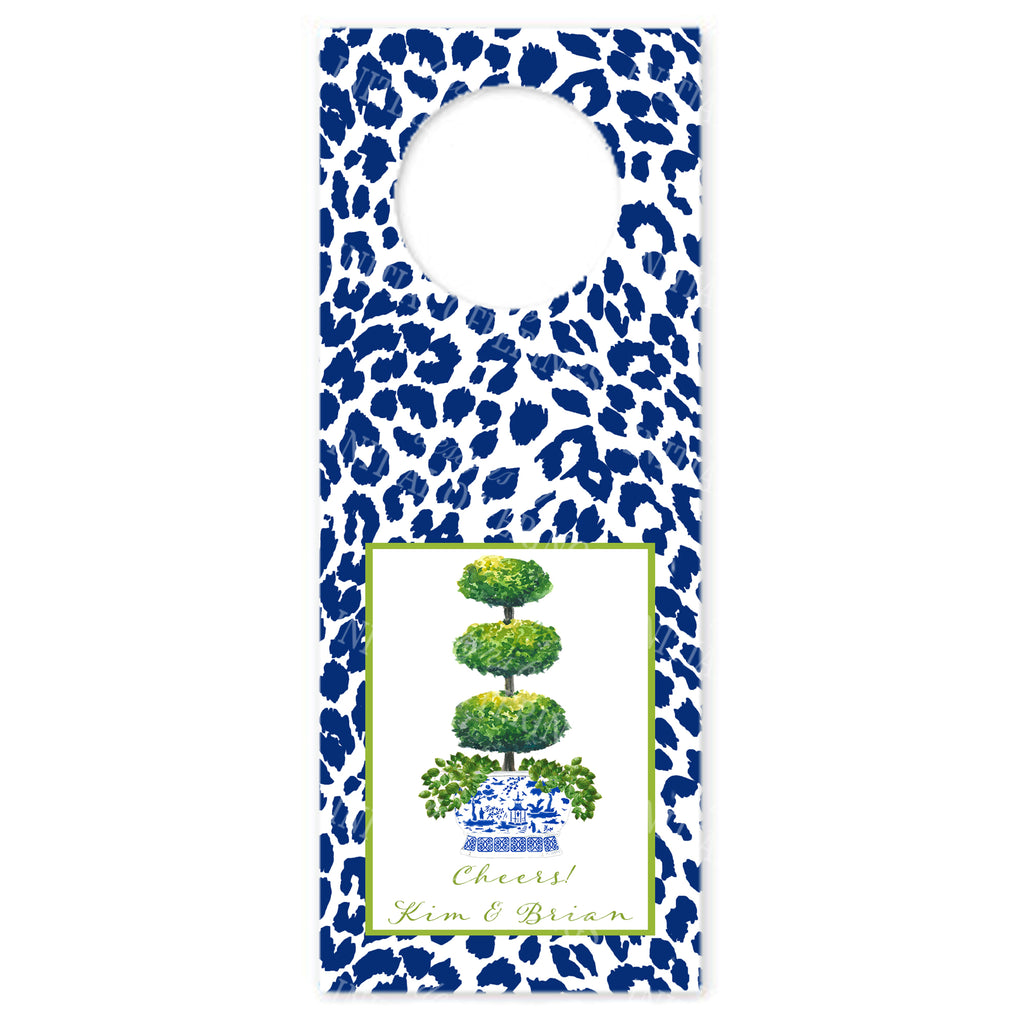Triple Topiary with Navy Cheetah Print Wine Bottle Tags