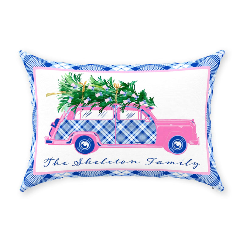 Blue and White Plaid Pink Woody Wagon Pillow
