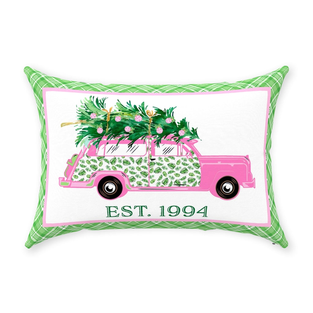 Pink and Green Palm Print Woody Wagon Pillow