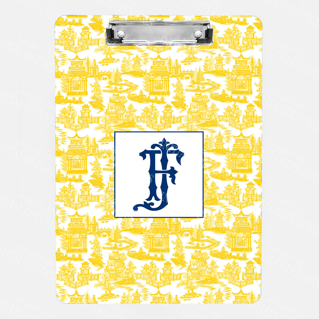 Pagoda Chinoiserie Yellow with Navy Clipboard