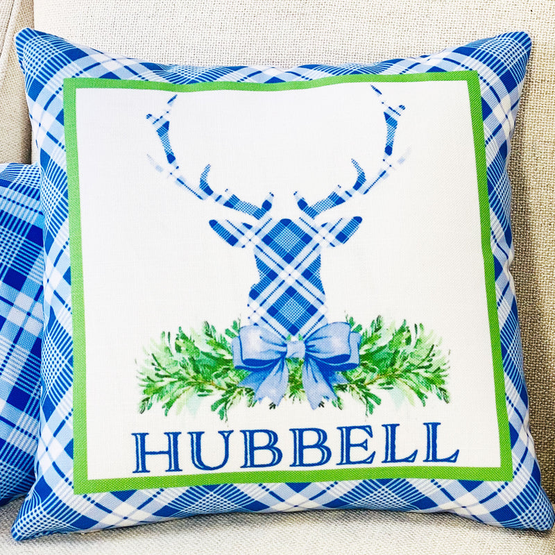 Blue and White Plaid Stag Head Swag Pillow