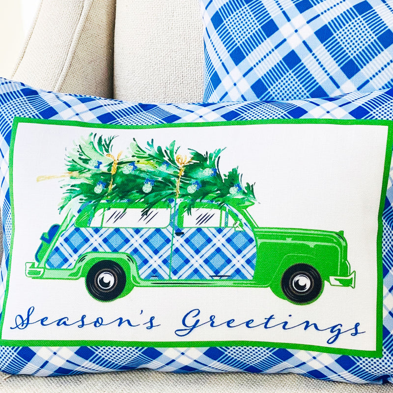 Blue and White Plaid Woody Wagon Pillow