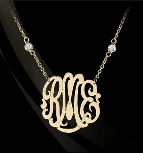 22K Gold over Sterling Silver or Sterling Silver Script Monogram on CZ Necklace