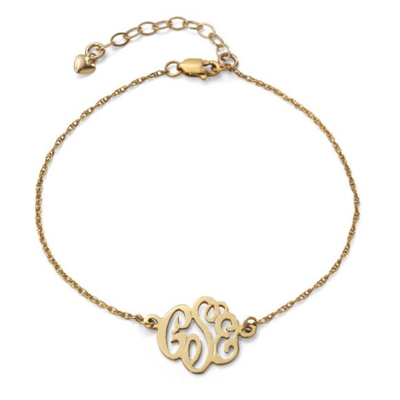 14K Gold or Sterling Silver Script Monogram Bracelet