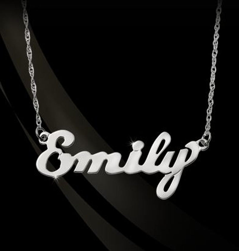 14K Gold or Sterling Silver Large Script Nameplate Necklace