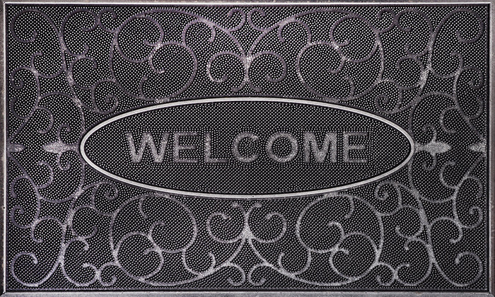 Welcome Damask Mat