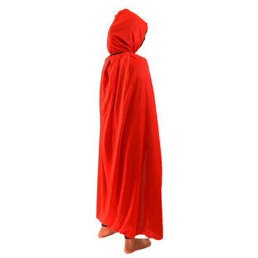 Kids Size Solid Red Cape with Hood Clothing Teal Sam