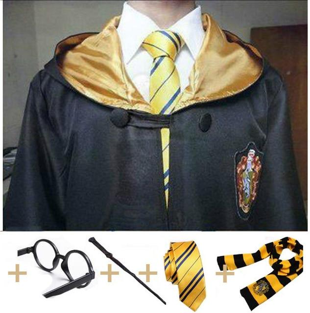 Kids Robe Cape with Tie Scarf Wand Glasses Ravenclaw Gryffindor Hufflepuff Slytherin Hermione Malfoy Costumes for Harry Potter Cosplay Clothing My Moppet Shop Ravenclaw full set Kids 115