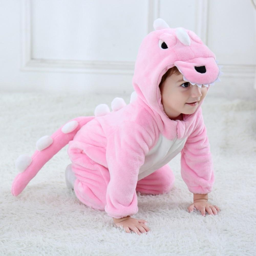 Baby Pink Dinosaur Costume Animal Romper Infant Toddler 0-3T Clothing My Moppet Shop