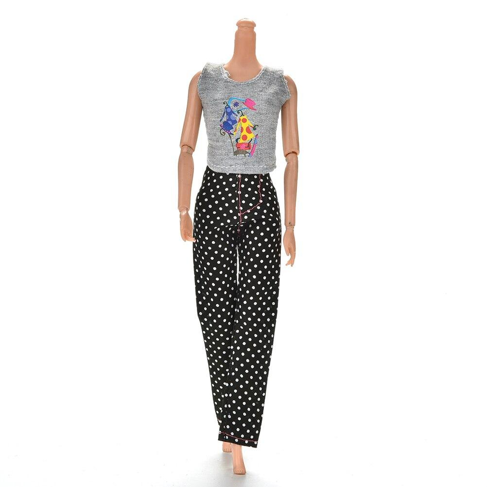 Fashion Doll Clothes - Pants and Top Toys My Moppet Shop Black/White/Gray