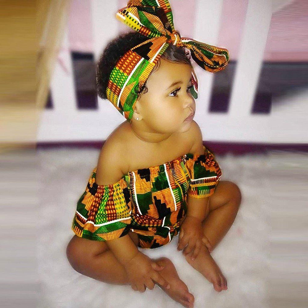 Baby Girls African Kente Print Off Shoulder Long Sleeve Romper Hair Band Clothing My Moppet Shop