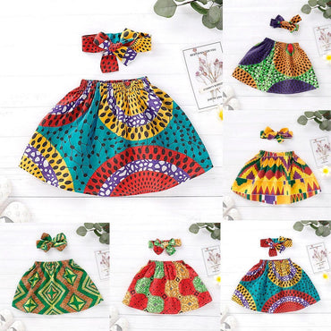Toddler Girls African Dashiki Print Skirt and Headband Set 12M-4T Clothing My Moppet Shop