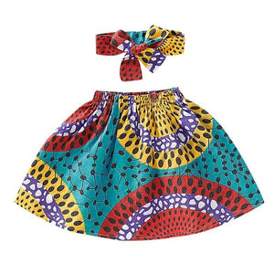 Toddler Girls African Dashiki Print Skirt and Headband Set 12M-4T Clothing My Moppet Shop Blue 2T United States