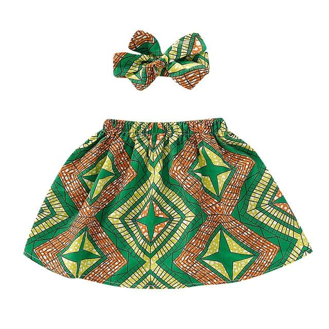 Toddler Girls African Dashiki Print Skirt and Headband Set 12M-4T Clothing My Moppet Shop Green 2T United States