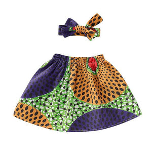 Toddler Girls African Dashiki Print Skirt and Headband Set 12M-4T Clothing My Moppet Shop Navy 2T United States