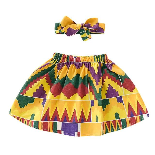 Toddler Girls African Dashiki Print Skirt and Headband Set 12M-4T Clothing My Moppet Shop Yellow 2T United States