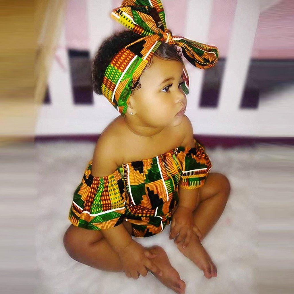 Baby Toddler Girls Romper African Kente Print Off Shoulder Romper+Headband Set 2pcs Clothing MJJ Source