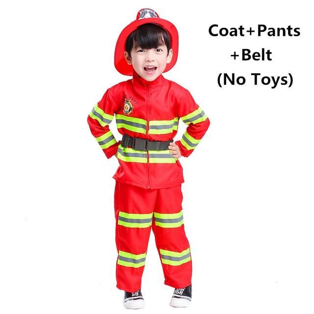 Fireman Sam Uniform Children Halloween Cosplay Firefighter Costumes Accessories Team Wear for Kids MJJ Source Red Set One Size