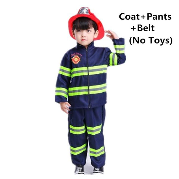 Fireman Sam Uniform Children Halloween Cosplay Firefighter Costumes Accessories Team Wear for Kids MJJ Source Blue Set 3T