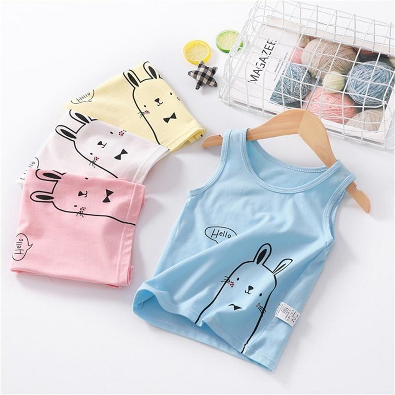 Cute Rabbit Tank T-Shirt 2-7 Year Cotton Blue Pink White Yellow Boys Girls Clothing My Moppet Shop
