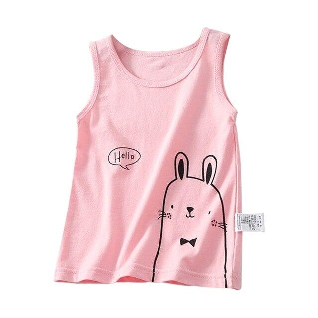 Cute Rabbit Tank T-Shirt 2-7 Year Cotton Blue Pink White Yellow Boys Girls Clothing My Moppet Shop Pink 3T United States