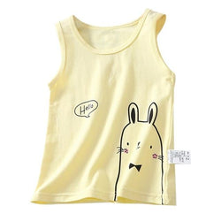 Cute Rabbit Tank T-Shirt 2-7 Year Cotton Blue Pink White Yellow Boys Girls Clothing My Moppet Shop Yellow 3T United States