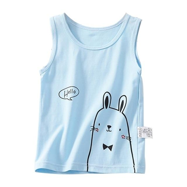 Cute Rabbit Tank T-Shirt 2-7 Year Cotton Blue Pink White Yellow Boys Girls Clothing My Moppet Shop Blue 3T United States