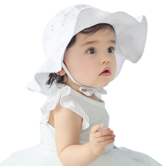 Chic Baby Sun Hat in White and Pink Accessories My Moppet Shop White United States